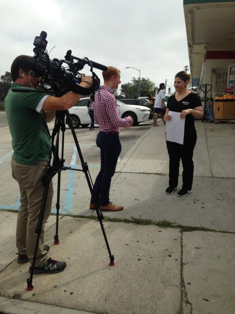 KPBS interviewing market owner, Janice Hernandez, on pedestrian safety surrounding Fresh Garden Market