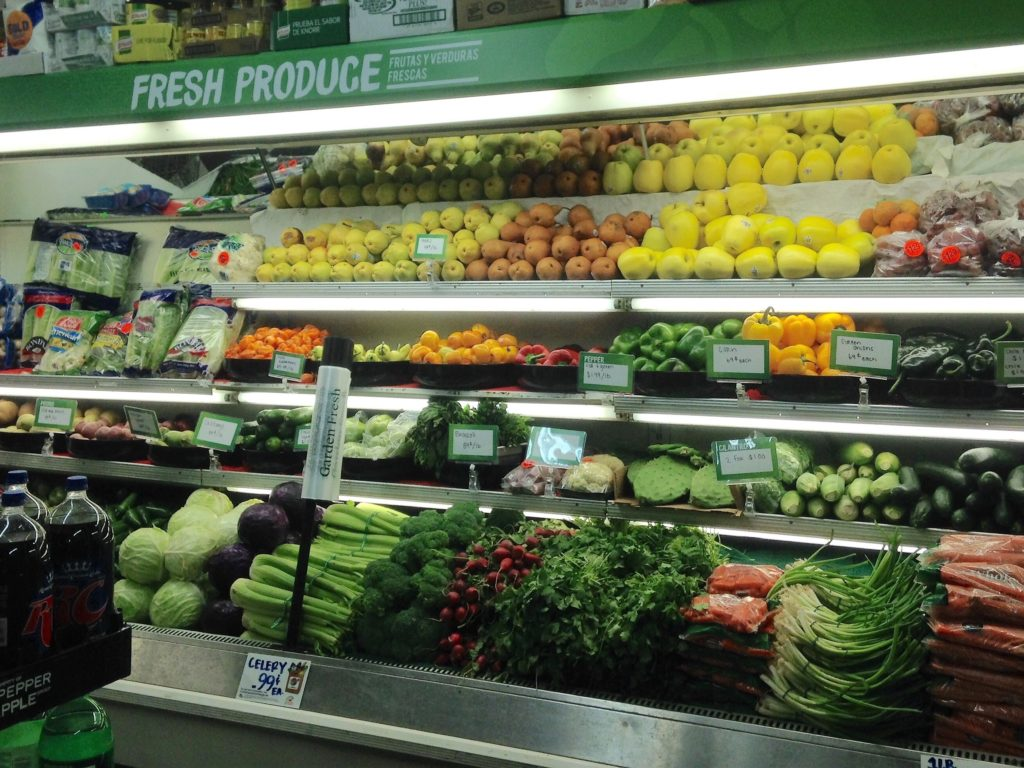 Newly designed produce banner and produce bins
