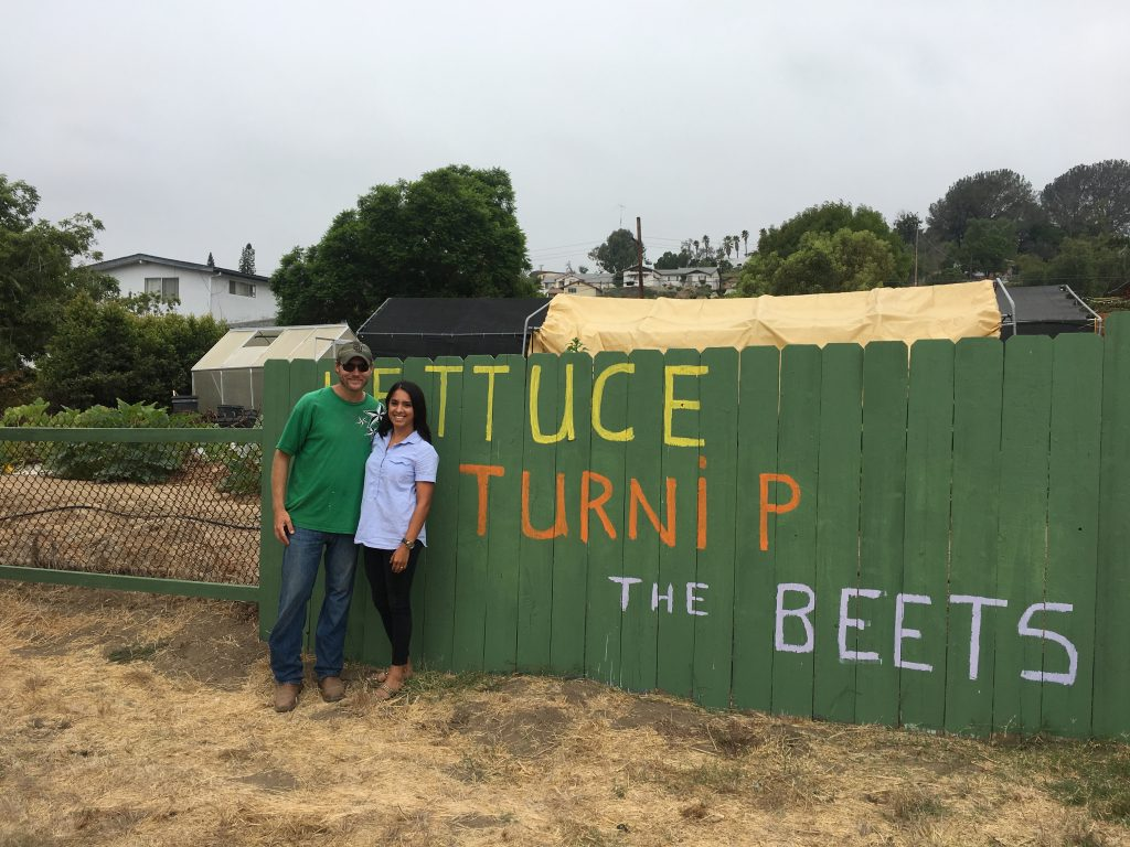 Chad Morris and Kate Mahoney at Green Cowboy Farm, Southeastern San Diego