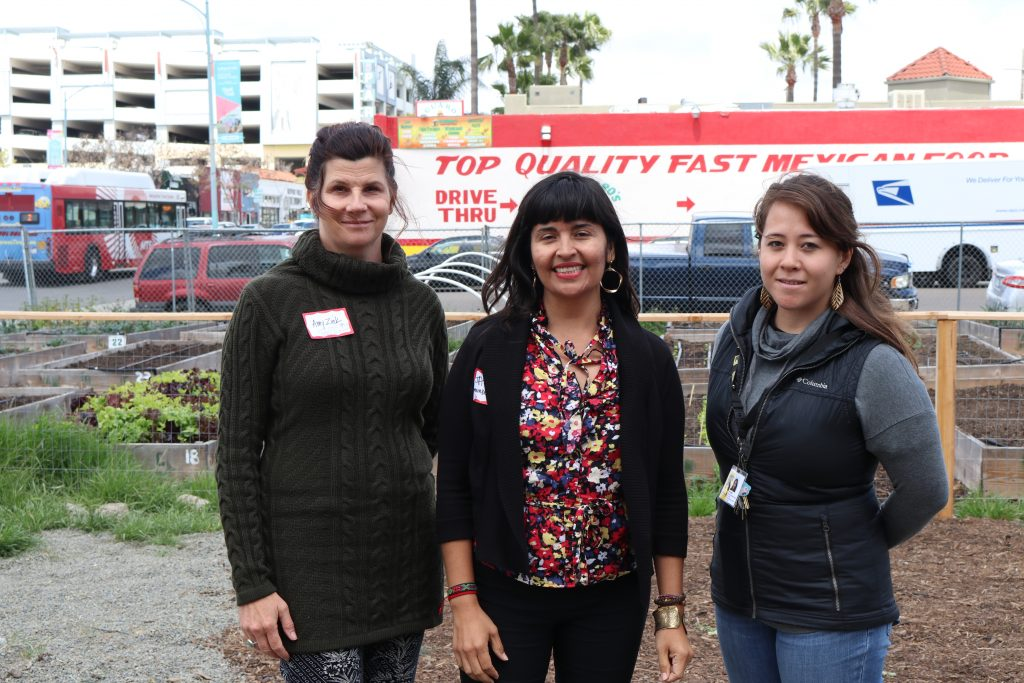 Amy Zink, Janice Reynoso, and Kit Horita at Youth FarmWorks of IRC, North Park, San Diego