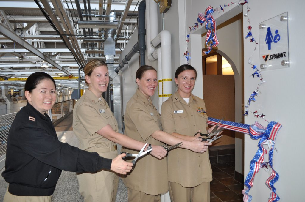 101029-N-5972N-004San Diego, Calif. (October 29, 2010) – Space and Naval Warfare Systems Command's (SPAWAR) active duty expectant mother's cut the ribbon to open the new Mother's Room. SPAWAR designed and constructed the first of two Mother's Rooms to enable new mothers to continue breastfeeding once returning to work.  This workplace quality of life initiative was recognized by the San Diego Breast Feeding Coalition.U.S. Navy Photo by Rick Naystatt (Released)
